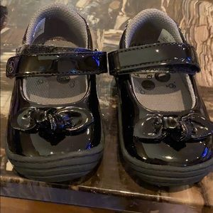 Black patent leather dress baby shoes